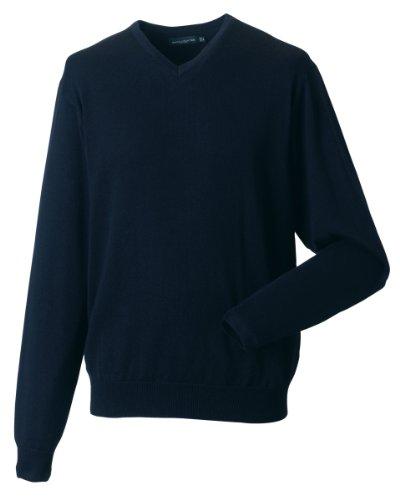 Russell Athletic - Maglione da uomo con scollo a V, lavorato a maglia, con maniche Marina francese XXXXL