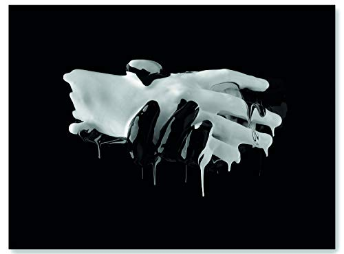 wandmotiv24 Leinwand-Bild Hände Schwarz Weiß, Größe 40x30cm, Querformat, Wand-Bilder, Dekoration Wohnzimmer modern, Hand, Kontrast, Tropfen, Verbindung, Freundschaft, Finger, Kunst, Deko M0107