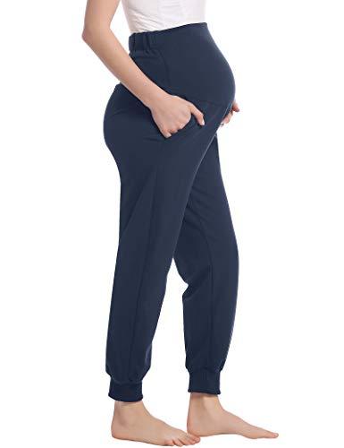 Joyaria Damen Lange Umstandshose Schlafhose Jersey Hose Freizeithose Yogahose Jogginghose für Schwangere Warm Winter(Marineblau,S)