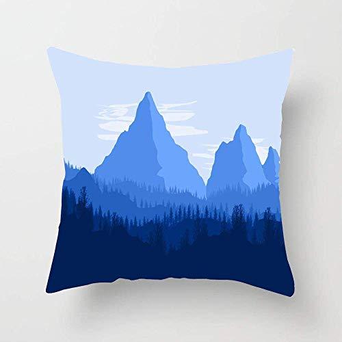 N\A Azul Aventura Montañas Bosque de coníferas Silueta Naturaleza Resumen Parques Alpes Calmas Nubes Color Cojín Funda de Almohada Decorativa para el hogar Sofá Sofá Cama Coche
