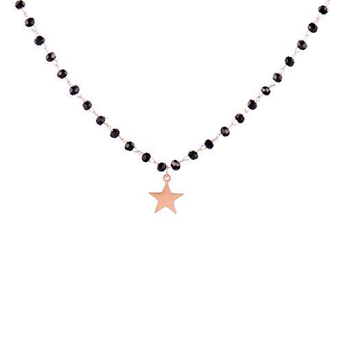 CHENGTAO Collar De Doble Capa De Cristal Negro Collar para Mujer De Acero Inoxidable Estrella Gargantilla Joyería De Mujer (Metal Color : Single Rose Gold)