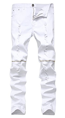 Men's White Zipper Ripped Distressed Destroyed Skinny Fit Jeans with Holes, 34