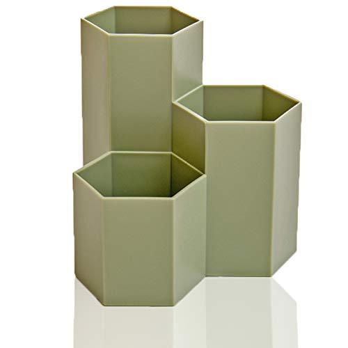 Hexagonal Stiftehalter aus Kunststoff Schreibtisch Organizer 3 Fächer Schreibwaren Lagerung Stifteköcher, Aufbewahrungsbox Pinselbehälter Organizer für Schule Zuhause und Büro (Grün)