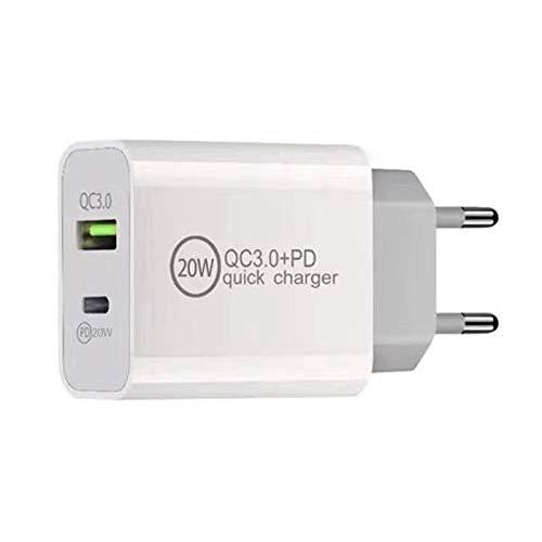 Nething Caricabatterie USB 20W 2 in 1 Caricatore multiplo da muro 1 Porta USB Tipo-C/PD + 1 porta USB Q.C. 3.0, Caricatore veloce per iPhone 12 Pro Max /12 Pro/ 12/12 Mini, Galaxy S21 Ultra, S21