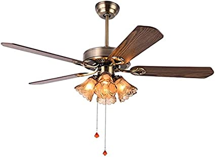 Control de cables del ventilador de techo de 5 cuchillas con 4 lámparas de vidrio para la sala de estar y el dormitorio del hogar, el ventilador de techo de 42