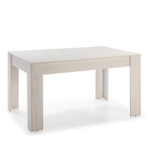 VS Venta-stock Mesa de Comedor Fija Kloe 140 cm (Largo) x 90 cm (Ancho) x 76 cm (Alto), Acabado Color Blanco