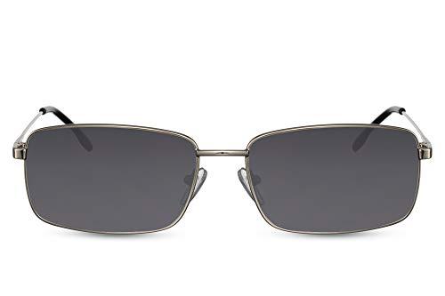 Cheapass Sunglasses Gafas de sol Masculinas Clásico Retro Rectangular Estilo italiano Sunnies de metal plateado oscuro con lentes oscuros para hombres con protección UV400