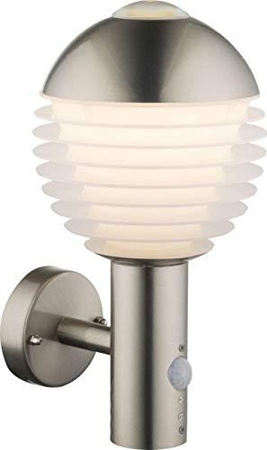 Wandlamp buiten roestvrij staal LED buitenmuur lamp met bewegingsmelder (buitenverlichting, sensor, bereik 6 meter, 11 watt, warm wit)