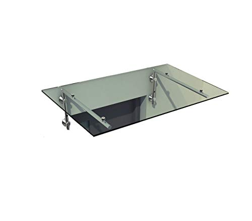 Vordach Glasvordach Türvordach Verbundsicherheitsglas VSG Edelstahl Klarglas (Wahl in 7 Größen & 4 Halterung) (200x90cm (2x L-Halterung))