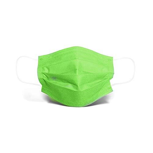 cinnamou Mundschutz Kinder 50 Stück Einweg 3-lagig Staubdicht Atmungsaktiv Cartoon-Muster Bandanas Halstuch für Jungen und Mädchen (Grün, 50 Stück)