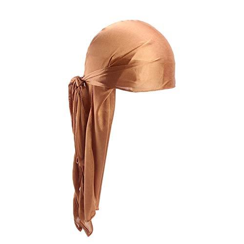 cuiyoush Unisex Imitated Silk Long Tail Bandana Turbante Hat Biker Pirata Cap 1pc Caqui