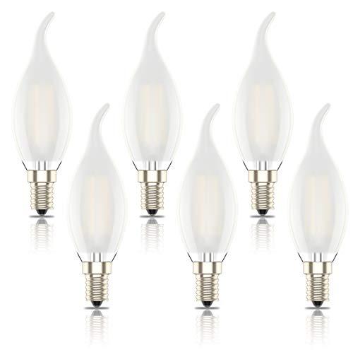 Phoenix-Lampadine LED E14 Luce Calda,Lampadina a Fiamma Dimmerabile,Smerigliato guscio di vetro,Bianco Caldo 2700K,400lm,4W Sostituisce 40W, (Pacco da 6)