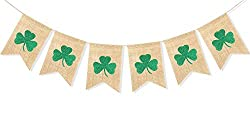 St. Patrick's Day burlap banner.