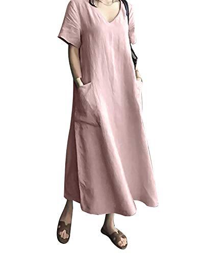 AUDATE Damen Sommer Plus Size V-Ausschnitt Kurzarm Leinen Baumwolle Loose Kaftan Langes Kleid Rosa 2XL