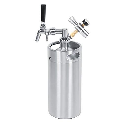 Barril de cerveza-3.6L, grifo ajustable de acero inoxidable, barril de lanza de cerveza, barril, medidor de presión de 2 clases, equipo de elaboración de cerveza