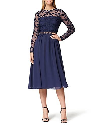 Marca Amazon - TRUTH & FABLE Vestido Midi Evasé de Encaje Mujer, Azul (Blue), 36, Label: XS
