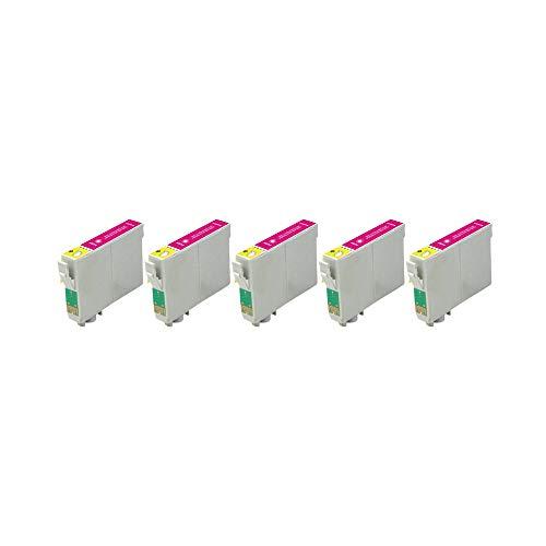 RudyTwos - Juego de 5 cartuchos de tinta para Epson Seahorse magenta compatible con Stylus Photo R200, R220, R300, R300M, R320, R325, R330, R340, R350, RX300, RX320, RX500, RX600, RX620, RX640