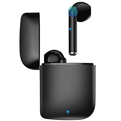 Écouteurs Bluetooth sans Fil, Bluetooth 5.0 Sport Étanche Hi-FI Son Stéréo, Contrôle Tactile, Microphones Intégrés, 25 Heures Durée de Lecture,Appairage Automatique, pour iOS et airpods iphone - Noir