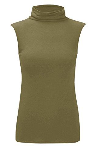 Damen Polo-Kragen, einfarbig, Stretch, ärmellos, figurbetont, Größen 34-40 Gr. 46-48, khaki