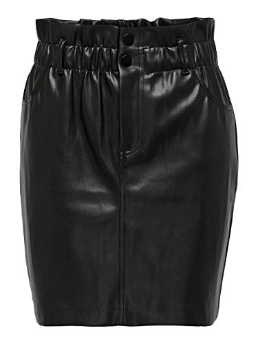 Only ONLMAIYA-Miri Faux Leather Skirt CC Pnt Gonna, Nero, S Donna