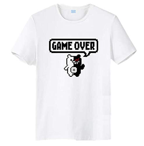 GK-O Anime Danganronpa Monokuma Game Over Casual T-Shirt Unisex Short Sleeve Tops Cosplay Tee (White, Asian Size Small)