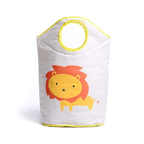 Cesto para la ropa amarilla decorada con un león (infantil)