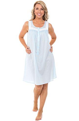 Alexander Del Rossa Womens 100% Cotton Lawn Nightgown, Sleeveless Scoop Neck Sleep Dress, Small Light Blue (A0592LBLSM)