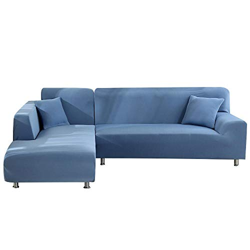 ANBF YC 2stks L gevormde bankovertrekken voor hoekbank woonkamer Sectionele Chaise Longue Sofa Spandex Slipcover Hoek Sofa Covers Stretch (Kleur : Grijs blauw, Maat : 3seater en 4 zitplaatsen)
