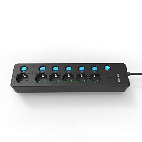 KS Steckdosenleiste einzeln schaltbar, 6 Fach Mehrfachsteckdose mit 2 USB (2,1A), 9000A Überspannungsschutz und Blitzschutz Steckerleiste, Kindersicherung, Wandmontage, 90° gedreht, 3680W (1,4m Kabel)