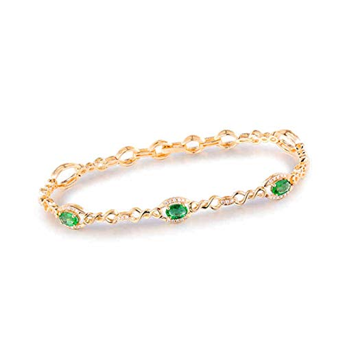 KnSam 18K Yellow Gold Chain Bracelets, 4 Claws Oval Cut Green Emerald 1.15ct IF and 0.34ct Diamond Gold
