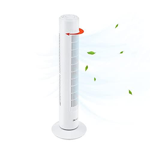in.tec Ventilatore a Torre 73 cm Silenzioso con 3 Velocitá e Modalitá Oscillante Motore da 50W - Bianco