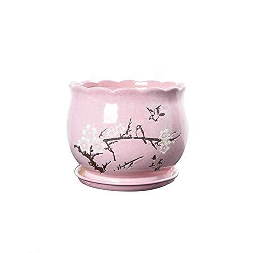Qp-hp Pot de Fleur en céramique Grand Extra Large avec Plateau intérieur Simple européen créatif Pot de Viande Carotte Verte (Couleur : Pink, Taille : Moyen)