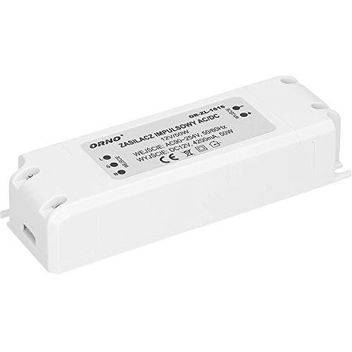 Orno Transformador 220v a 12v De CA a CC para G4 MR11 MR16 GU5.3 Bombillas LED o Tiras LED (6W-50W), IP20 (50W)