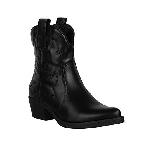 Elara Botines Mujer Botas de Vaquero Chunkyrayan Negro 301-A31 Black-36