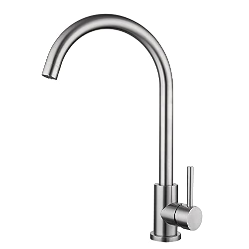 Tohlar Kitchen Sink Mixer Tap,Modern Single Lever 360 Swivel Spout Stainless Steel Kitchen Taps,Brushed Nickel
