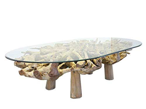 Antike Fundgrube Ovaler Esstisch mit Glasscheibe und Wurzelholz | Tisch Glastisch Edler Konferenztisch | unbehandelt | 300x200 cm (9316)
