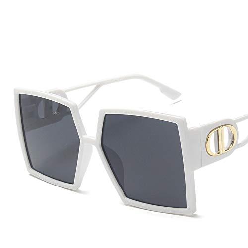 NJJX Gafas De Sol Cuadradas De Gran Tamaño Para Mujer, Gafas De Sol Con Gradiente De Lujo, Montura Grande, Gafas Vintage C5, Blanco, Negro