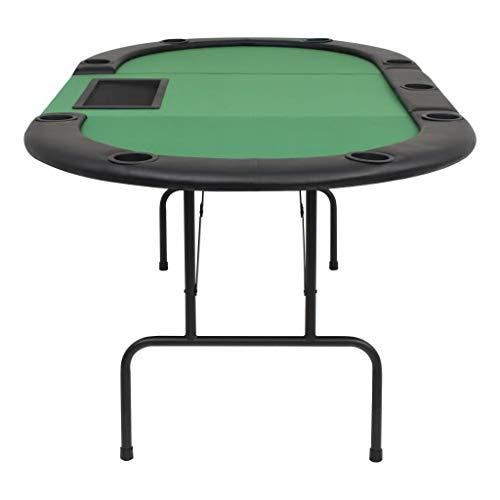 vidaXL Pokertisch 9-Spieler 3-Fach Klappbar Oval Grün Casino Poker Tisch - 5