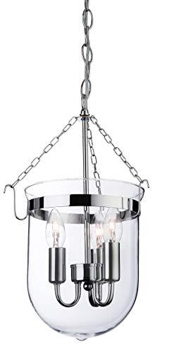 Firstlight - Lámpara de techo (cromo y cristal transparente, funciona con 1 bombilla de rosca E14 y 40 W), diseño de farol, color plateado