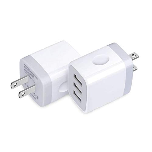 USB Wall Charger, Charging Block, 2-Pack iHoto 3.1A USB Plug Cube 3-Multi Port Fast Charge Phone Charger Base for iPhone Xs Max/XR/X/8/6s, iPad, Samsung Galaxy A20 A20S A30S A80 A71 M31, LG, Moto,HTC