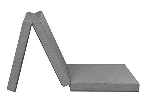 Badenia Trendline faltbare Gästematratze, mit strapazierfähigem Bezug, 196 x 65 cm Liegefläche, hellgrau