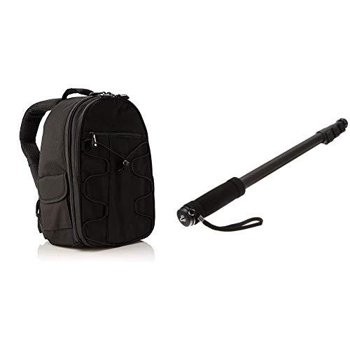 Amazon Basics DSLR-Kamerarucksack für Spiegelreflexkameras und Zubehör schwarz & 67-Inch Monopod