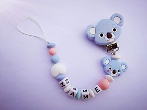 Schnullerkette mit Name Nuckelkette personalisiert Koala Herz Silikon Junge Mädchen
