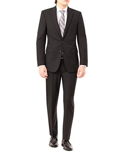 MY'S Men's 3 Piece Slim Fit Suit Set, 2 Button Blazer Jacket Vest Pants with Tie, Solid Wedding Dress Tux and Trousers, Black, S, 5'7-5'10, 140-160lbs