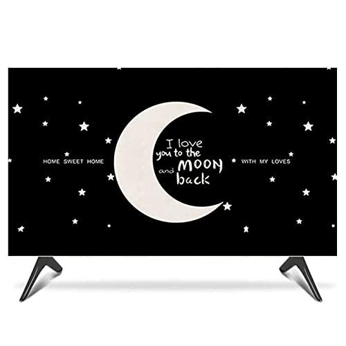Cubierta Interior para Tv con Patrón de Luna, Cubierta de Tv Cubierta de Polvo Cubierta Colgante de Lcd 19-65 Pulgadas Curvado Estilo Europeo Cubierta de Tv de Pared Cubiert(Size:47-50in/W116cmxH67cm)