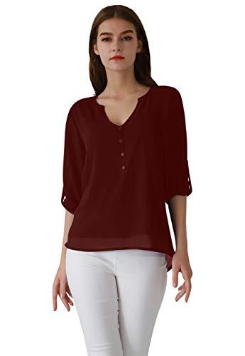 OMZIN Blusa de gasa para mujer, cuello en V, camiseta informal de manga larga, tallas XS-XXL, Rojo vino., S