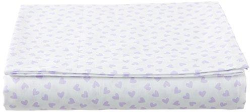 SheetWorld FLAT Crib / Toddler Sheet - Pastel Lavender Hearts Woven - Made...