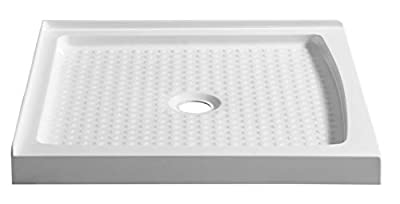 "ANZZI Titan 36"" x 36"" Double Threshold Square Center Drain Location Shower Base in Glossy White | Marine Grade Acrylic and High Yield Fiberglass | Integrated Slip Resistant | SB-AZ009WC"