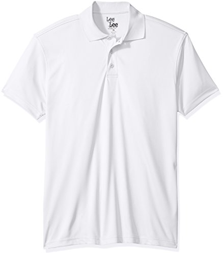 Lee Uniforms - Polo Deportivo de Manga Corta para Hombre, Blanco, Small