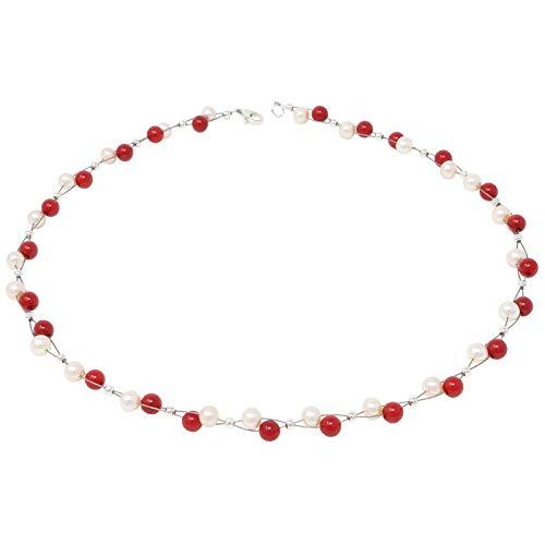 Kette Collier echte Koralle & Perlen Süßwasserperlen rot weiß Halskette für Damen